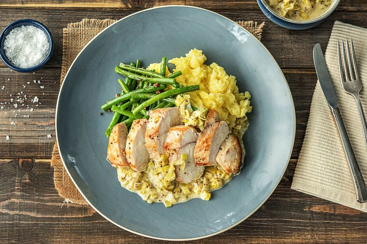 Creamy Mustard Chicken with Sauteed Leeks and Green Beans