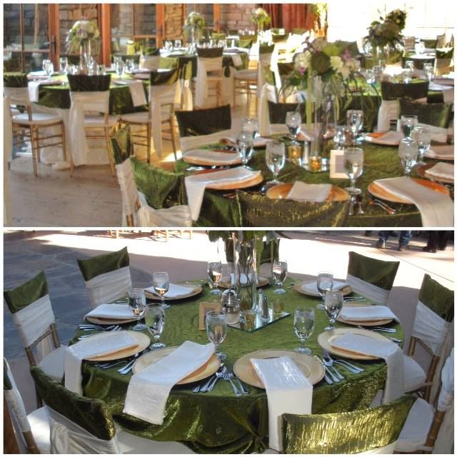 We love these tables that StarStruck! designed. The Moss and Pearl Crush paired beautifully at this venue!