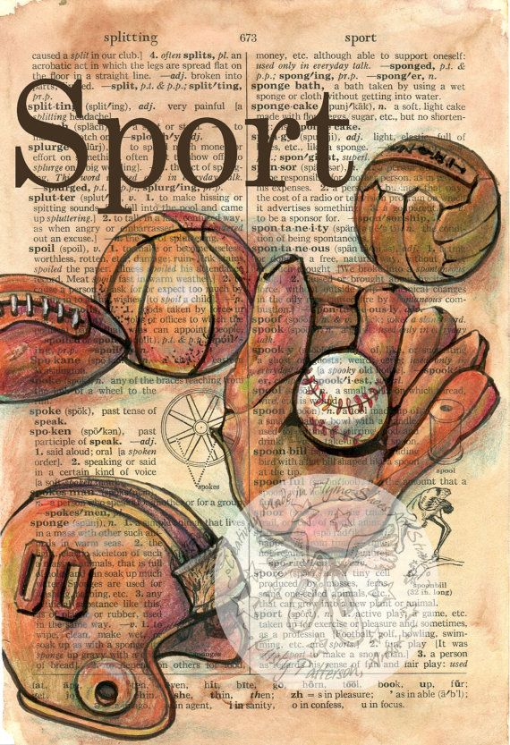 print vintage sports equipment mixed media drawing on