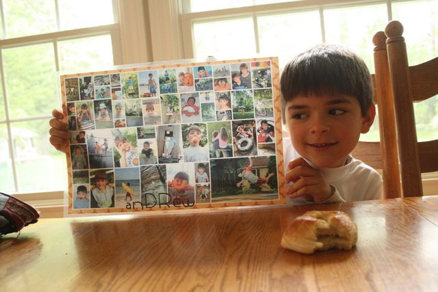 Photo place mats: your kid can pick out the pictures and you can get it made by creating a collage with your photo editing software and having it copied and laminated at a local printing shop for about $4.00.