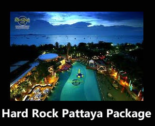 Hard Rock Pattaya Package.  Starting from USD 505 / Person including flight ticket from and to Jakarta, buffet dinner, t-shirt, etc.