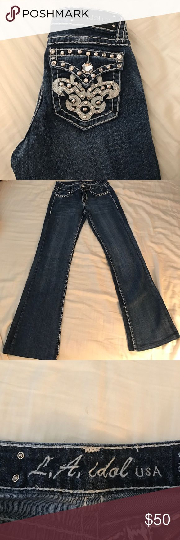 LA Idol denim jeans LA Idol jeans with thick white threads Jeans Flare & Wide Leg