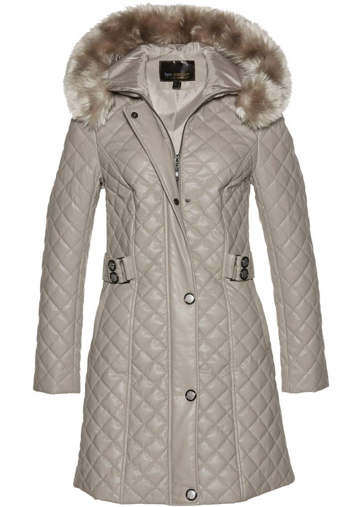 Steppmantel in Lederoptik mit großer Kapuze und Besatz aus Fellimitat. Der Steppmantel ist sehr hochwertig verarbeitet und sorgt auch an kalten Tagen für Eleganz.