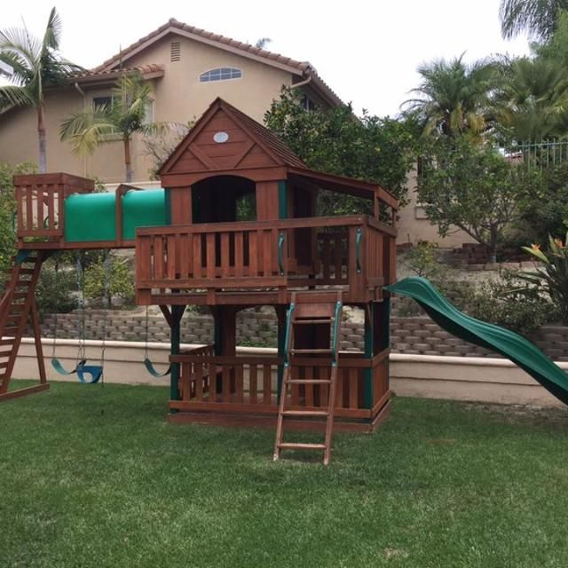 Woodridge Ii Wooden Swingset Playset In 2019 Outdoors Kids Swing
