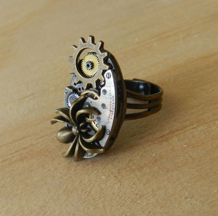 Image of Steampunk Vintage Spider Watch Movement Ring