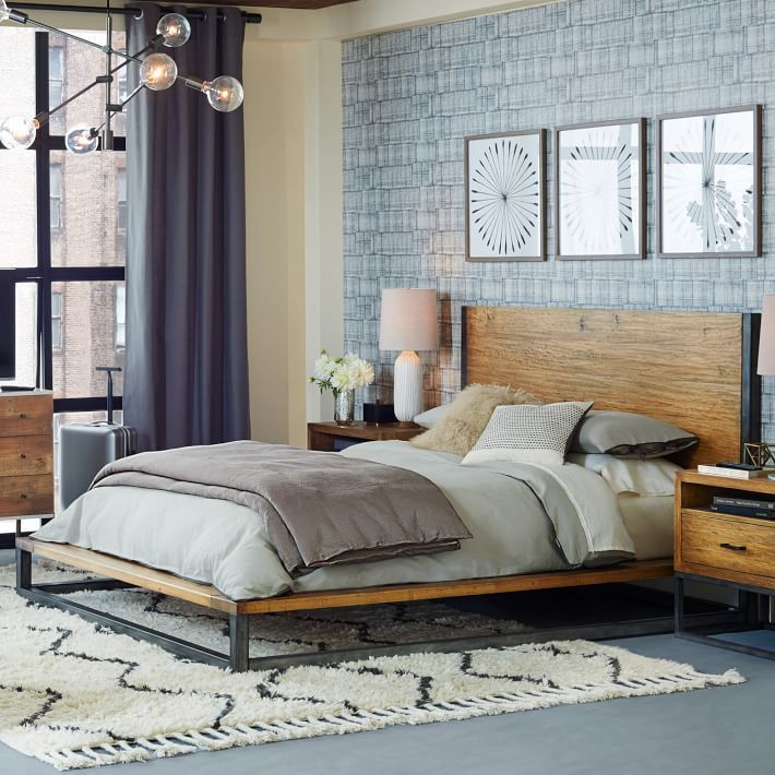 This indusrial platform bed could work in almost any space with concrete or hardwood flooring! via West Elm