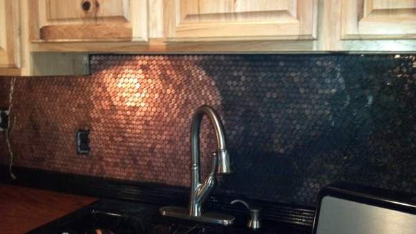 17 best images about kitchen back splash ideas on for Kitchen penny backsplash
