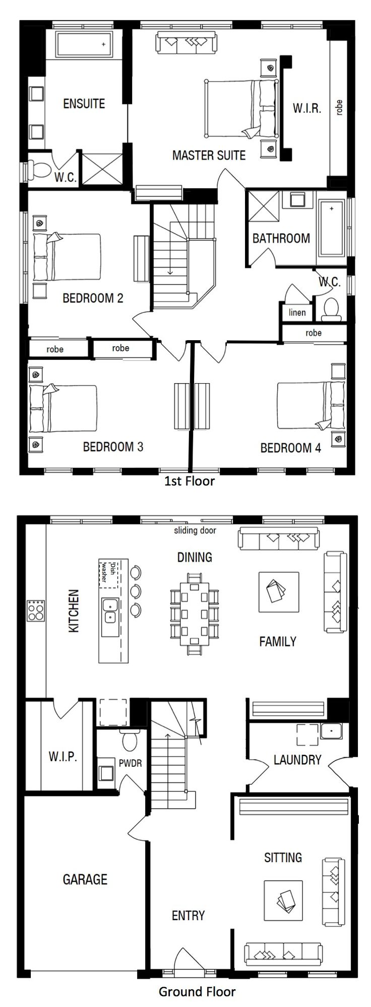 Newhaven 33 by Metricon (Modified). 4 bedroom. Open plan kitchen dining living room. Walk through laundry.