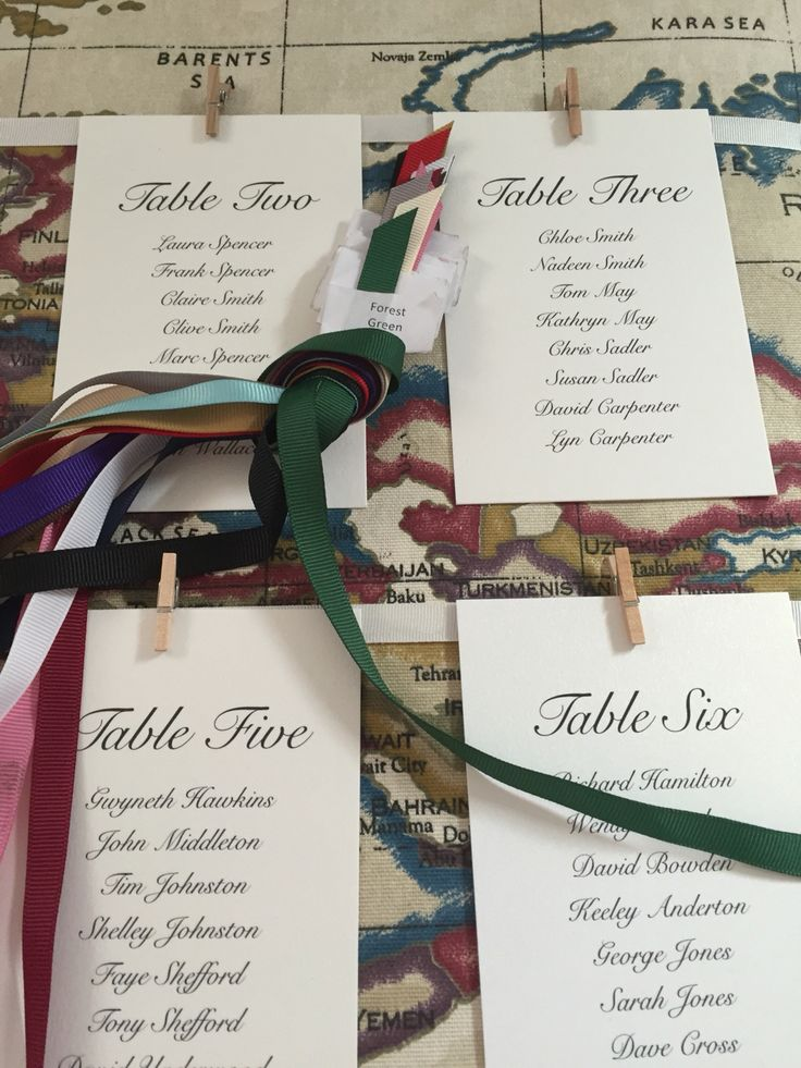 Choose your own coloured ribbon and let us create a custom wedding table plan.