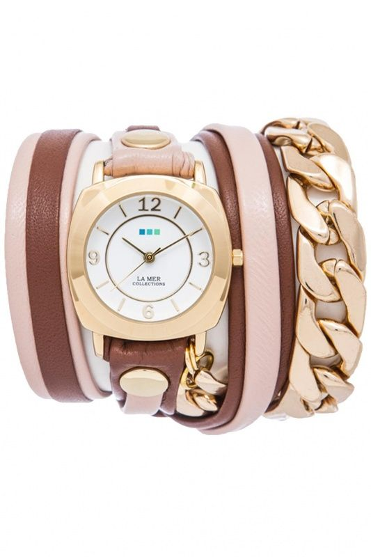 LMSCW4004 - La Mer Collection Brooklyn Mix Up Malibi Gold dames horloge
