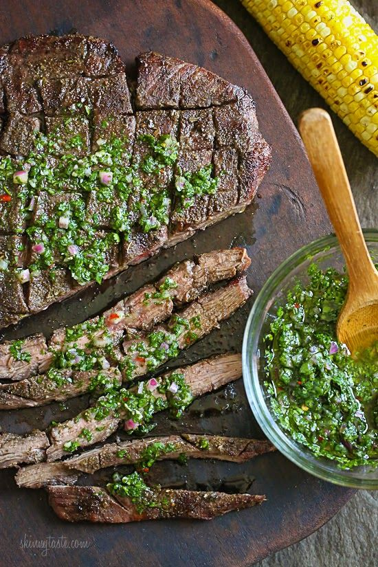 Grilled Flank Steak with Chimichurri - Skinnytaste