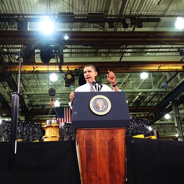 President Obama speaks at Linamar in Arden yesterday. Photo by Erin Brethauer.