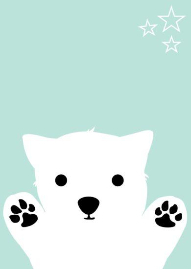 Poster Blue Dog, kinderposter met schattig hondje erop