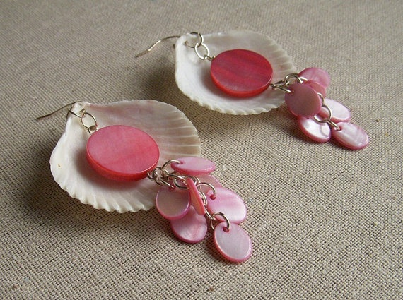 Pink Shell Earrings with mother of pearl beads by dbBerk on Etsy, $15.00