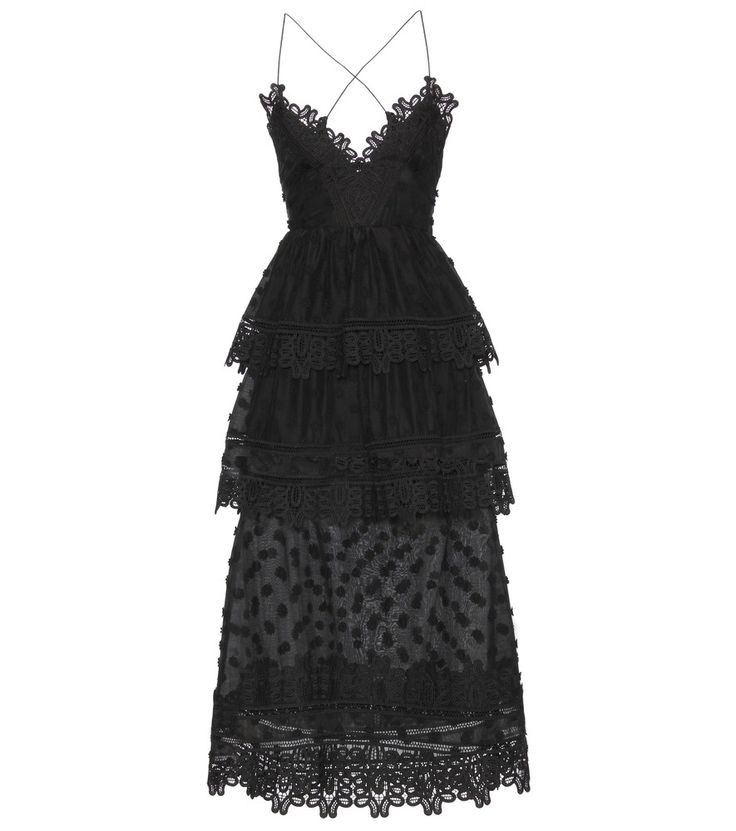 Self-Portrait - Ivy lace-trimmed midi dress - Equal parts feminine and alluring, the 'Ivy' dress from Self-Portrait is just what your special-occasion wardrobe is waiting for. The black cotton-blend fabric features tonal, dimensional daisies and ornate macramé lace trimming the tiered silhouette. A lace-up back, slender straps and V-neck shape give this design endless youthful elegance. seen @ www.mytheresa.com