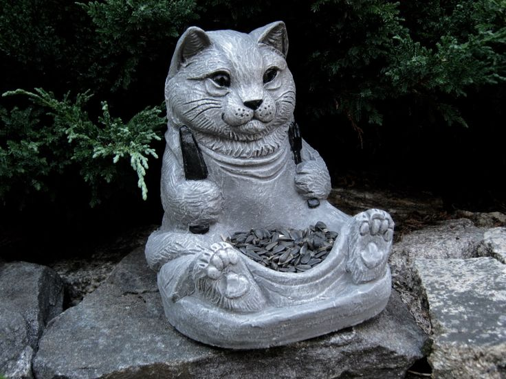 cat statue bird feeder cat feeder concrete cat feeder garden decor - Concrete Garden Decor