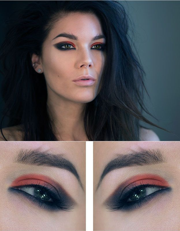 Темный макияж для серых глаз брюнетки