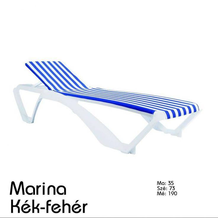 Marina napozóágy kék-fehér csíkos mintázattal, de más színekben is elérhető! Tartós keretű és kényelmes kinti sziesztázáshoz!