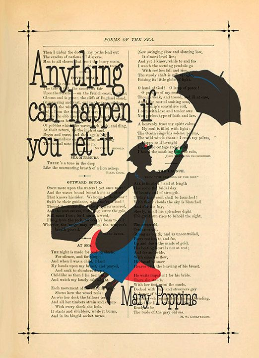 Mary poppins art print Inspirational poster print by eebookprints