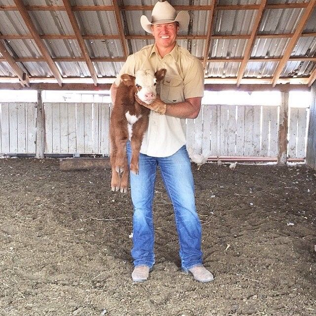 It's not Joanna, but it's Fluffy, the newborn calf that Joanna said could sleep in their bed for its 1st nights sleep!  CUTE!  (and Chip, of course)