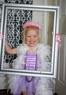 create photo booth, pretty fabric,boa painted frame and tiara a must!!!!!...pic taken when they arrive and sent to one hour photo walgreens :)