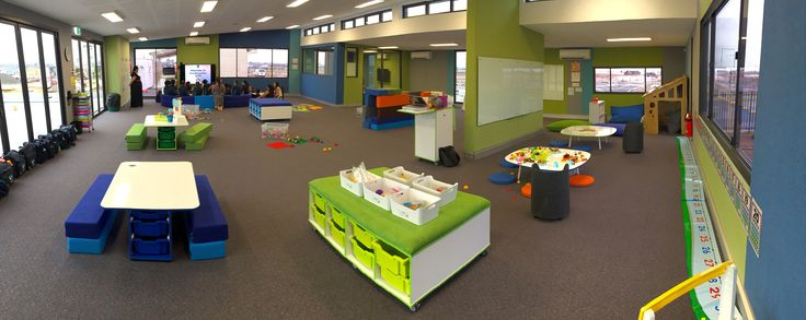 Early Stage 1 Learning Space at St. Luke's, Marsden Park with NorvaNivel  low Pebble tables, T-Tables, Genga blocks, Seatpads and Storage Unit.