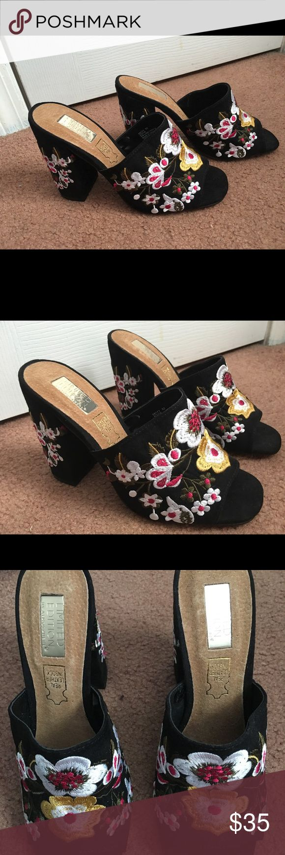 Black faux suede block shoe with floral embroidery Primark Limited Edition embroidered shoes. Faux suede with real leather in sock. Floral design. Never worn, mint condition. Super on trend. Primark Shoes Heels