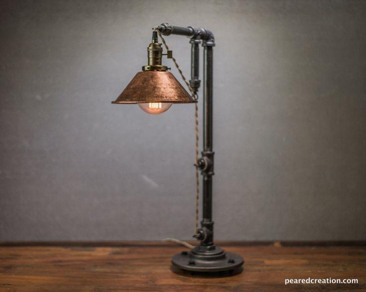 diy industrial lighting. Industrial Table Lamp - Edison Bulb Lighting Copper Shade Desk Rustic Iron Pipe Barn Light Diy S