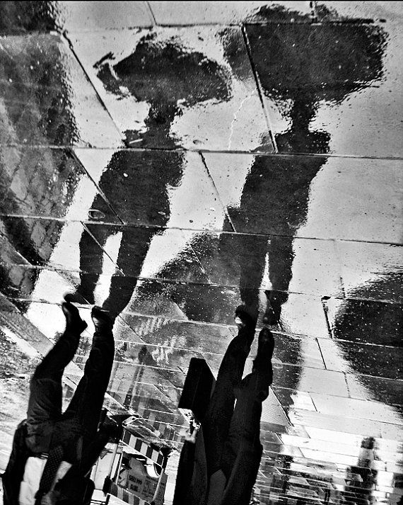 Rain in London black and white art umbrella urban by RonyaGalka, $25.00