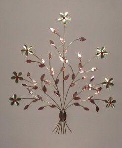 μπουκετο λουλουδια μπρουτζος χαλκος 57Χ50 - Bouquet copper brass crystal beads 57X50