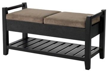 Paris Carlyle Wooden Storage Ottoman Bench with Upholstered Seats traditional ottomans and cubes