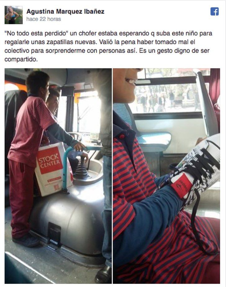 Un solidario chofer le regaló zapatillas nuevas a un niño. El gesto se volvió viral