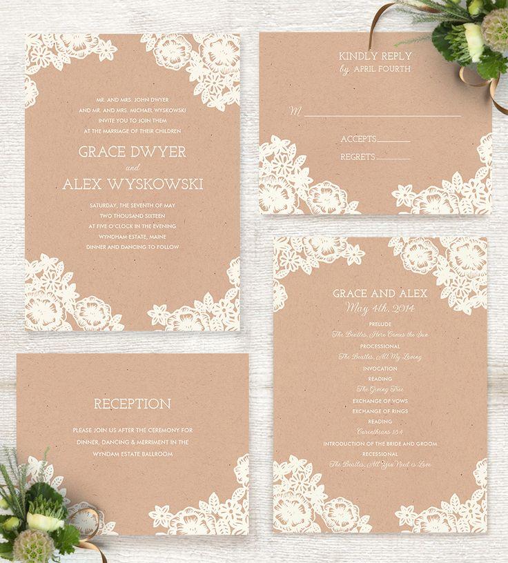 Lace and Kraft rustic wedding invitation by Katherine Watson @minted