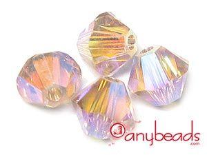Austrian Swarovski Crystal Elements 5301/5328 Xilion Bead Bicones 4mm - Vintage Rose AB2X