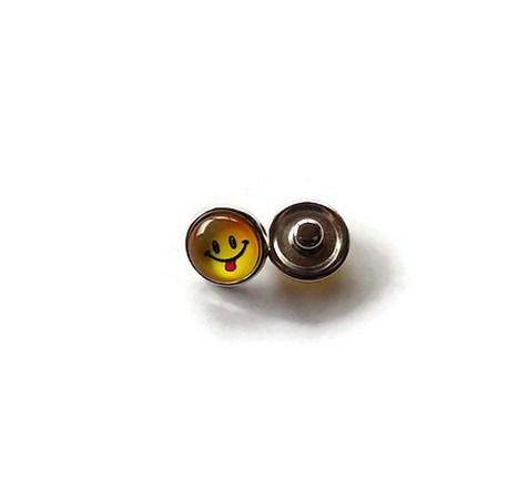 bouton snap chunk visage souriant jaune 12 mm cabochon pour bijoux personnalisables B074 : Autres accessoires bijoux par mamiechantal-screations