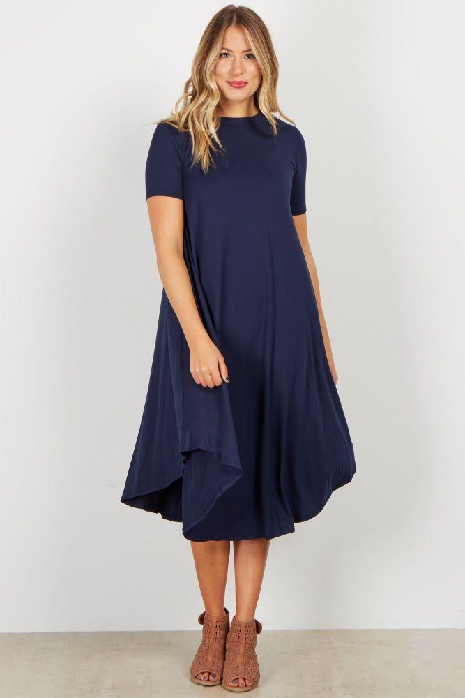 Navy Short Sleeve Swing Dress