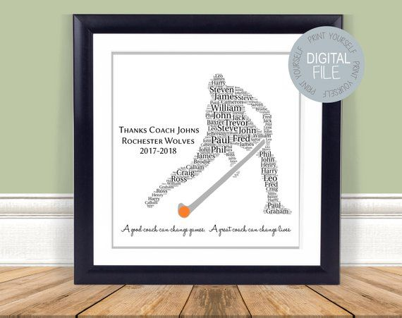 Men 39 S Hockey Coach Gift Hockey Word Art Printable Gift Personalized Gift Christmas Gift By Peppermintgr Hockey Coach Gifts Coach Gifts Hockey Coach