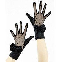 Kanten satijnen handschoenen met strik - Gothic