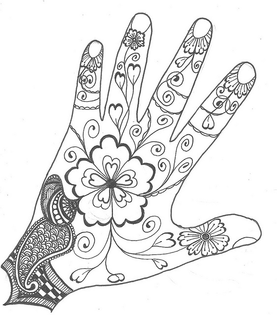 Outline Mehndi Hand Coloring Zentangle Drawings Doodle Art