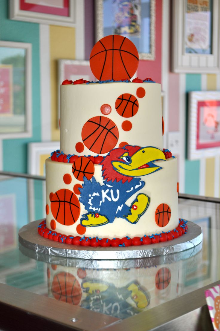 KU Kansas Basketball Cake www.LeahsSweetTreats.com