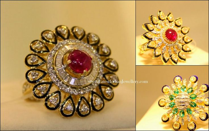 Traditional Rajputi kundan ruby diamond cocktail ring
