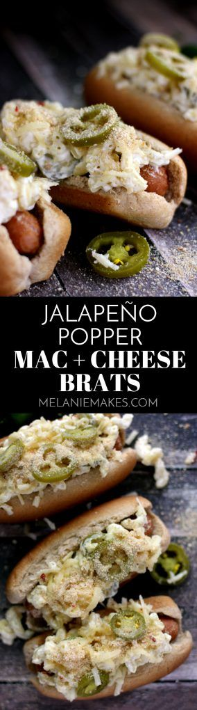 These Jalapeño Popper Mac and Cheese Brats are one of your favorite appetizers dressed up as a main dish. A grilled to perfection brat is nestled into a toasted bun and then topped with the cheesiest, meltiest, tastes just like a jalapeño popper mac and cheese. Each bratwurst is then garnished with additional shredded white cheddar jalapeño cheese, pickled jalapeños and toasted breadcrumbs.