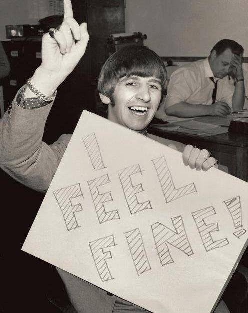 "Early December 1964. Ringo back in action following the removal of his tonsils promoting The Beatles latest single ""I Feel Fine""."