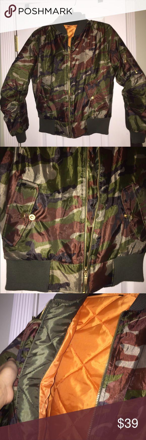 Booho Camo combat jacket Camo combat jacket; never worn. tags are off though thinking i'd like. size Xsmall. zipper on the side on the arm. NO TRADES Boohoo Jackets & Coats