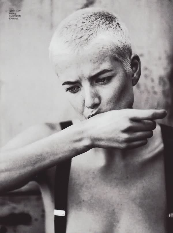 Agyness Deyn - you have to be really beautiful to pull off this haircut! I've shaved my head before, but I don't think I looked this amazing.