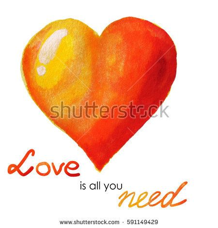 Valentine's Day Greeting Card with Watercolor yellow - red heart and romantic inscription - love is all you need.