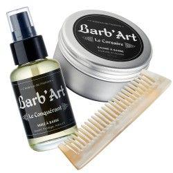 Pack complet entretien barbe le Conquérant : Huile à barbe, baume à barbe et peigne à barbe