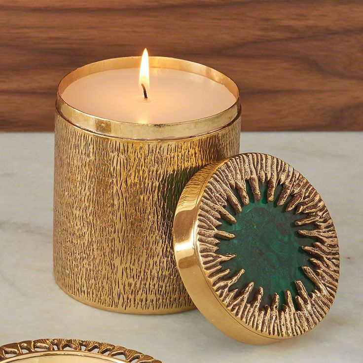 Global Views Crimped Box Brass and Malachite Poured Candle