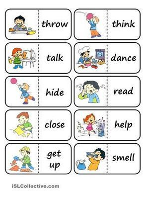 42 domino cards on action words. i used the same pictures as in the bingo cards.  - ESL worksheets