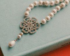 Vintage Inspired Pearl & Crystal Necklace, Phoebe